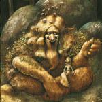 illustration de troll et de fée dans une forêt enchantée des contes d'antan. Illustration réalisée par Godo. Site : godo art. illustrateur fantasy