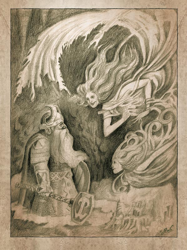 illustration de nain dans une grotte habitée par des fée. Contes d'antan. Illustration réalisée par Godo. Site : godo art. illustrateur fantasy