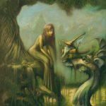 illustration de fée de lutin et de dragon dans les marais. Illustration réalisée par Godo. Site : godo art. illustrateur fantasy