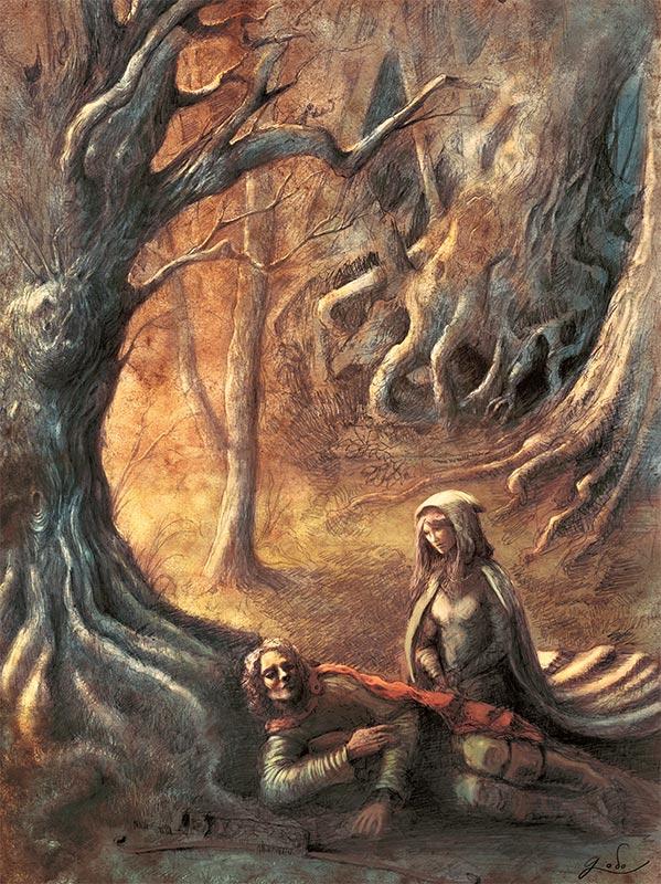 illustration de fée aidant un voyageur dans les forêts enchantées d'orthana. ILlustration de Godo. fantasy et féerie