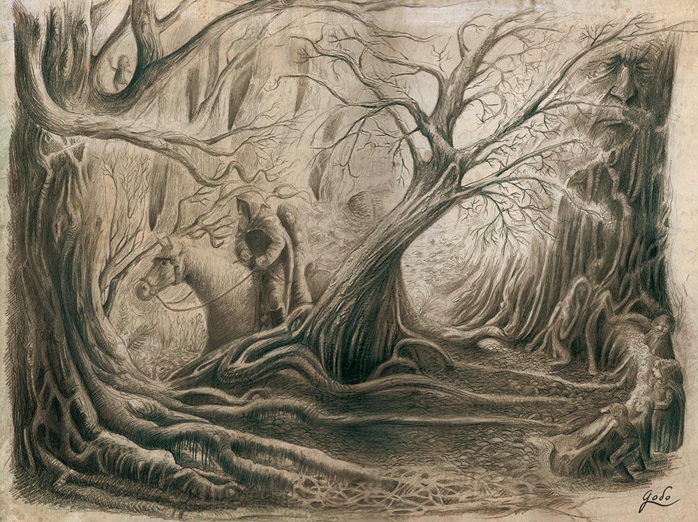 illustration au crayon d'un frère conteur à l'orée de la forêt enchantée d'orthana. Des gnomes sont tapis derrière les racines noueuses des arbres millénaires. Illustration fantasy de godo.