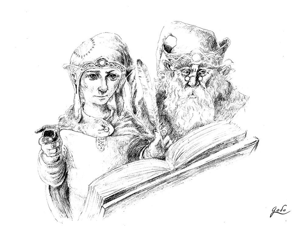 recherche au crayon de gnomes écrivant à la plume dans un grimoir ancien. illustration fantasy de godo