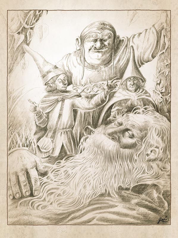 illustration au crayon d'Aldrim, un frère conteur, entouré de trois gnomes aux chapeaux pointu dans la forêt enchantée d'orthana.