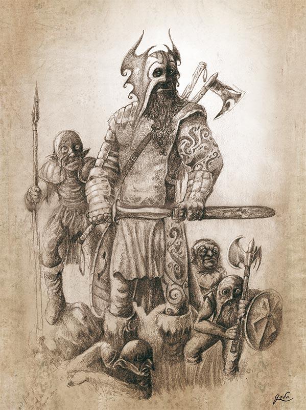 illustration au crayon d'une horde de gobelins. illustration de fantasy réalisée par godo