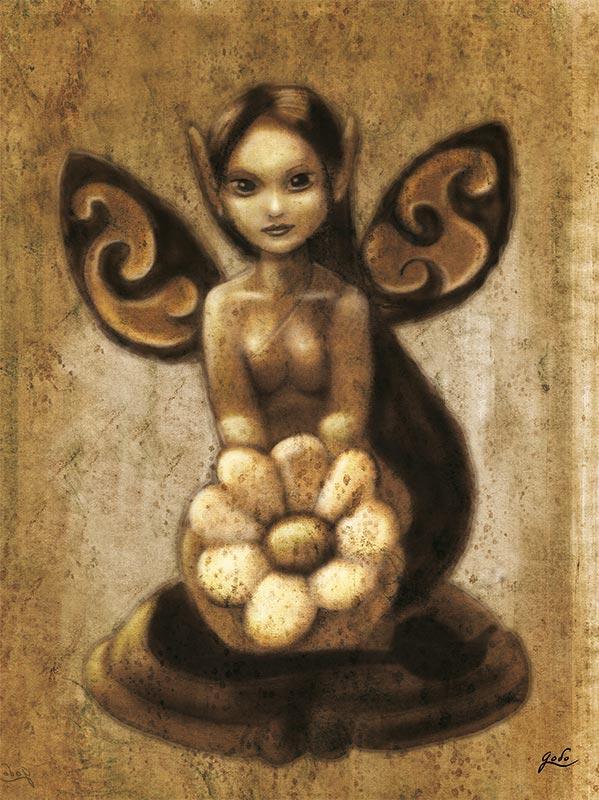 illustration au crayon d'une petite fée portant une fleur. Illustration fantasy de Godo