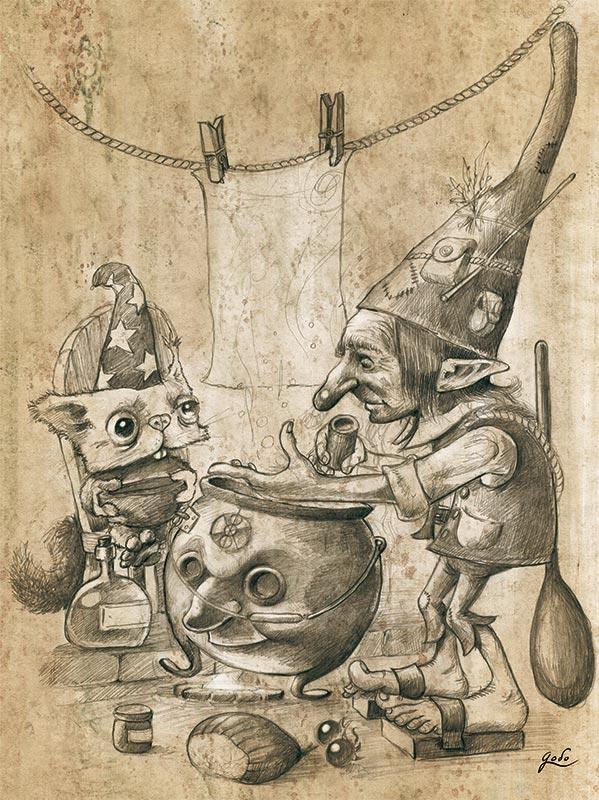 illustration au crayon d'un gnome magicien en pleine prépration dans son chaudron magique pour transformer son aprenti. illustration fantasy de godo