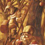 illustration de lutins cueillant des pommes,