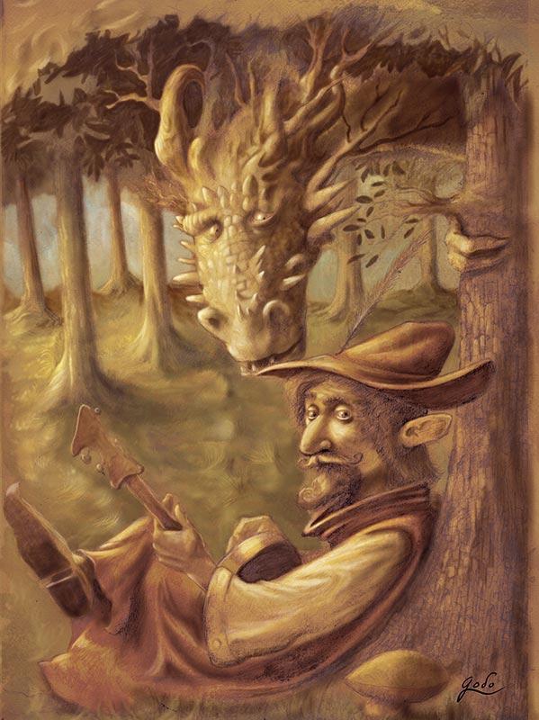 illustration d'un ménestrel, troubadour, et d'un dragon dans les forêts enchantées des contes.