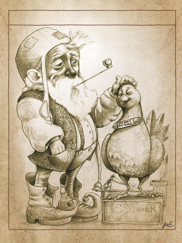 illustration d'un lutin messager et de son pigeon voyageur, illustration fantasy de godo