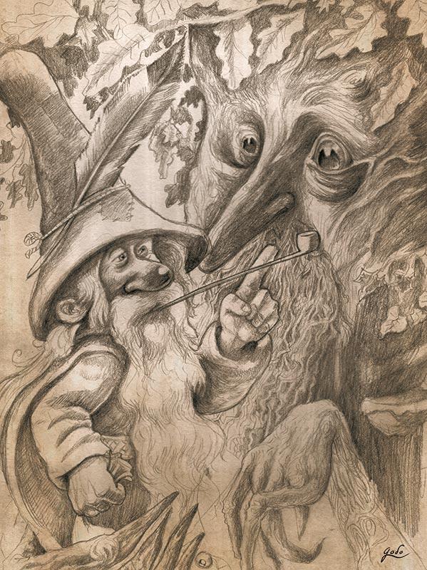 dessin d'un gnome et d'u vieux chene realise au crayon