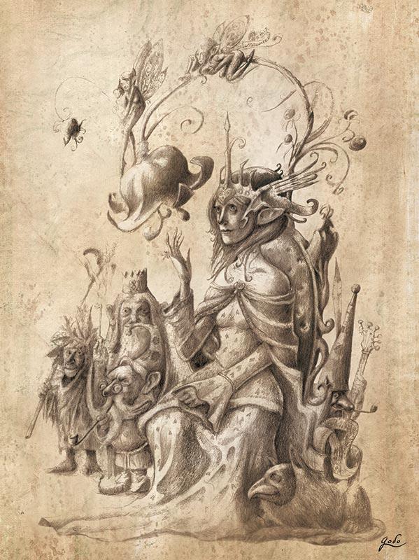 dessin de reine fee de gnomes de lutins et d'elfes de godo