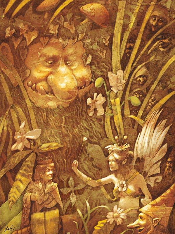 illustration de troll de lutins et de fee dans les herbes de sous bois, réalisé par godo