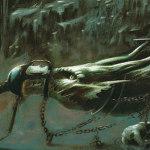 illustration d'un dragon, emprisonné dans une grotte par un forgeron, qui alimente de son feu la forge.