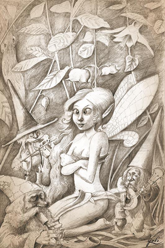 illustration de la fée qui louche et lutins jouant de la musique, realisée au graphite par godo
