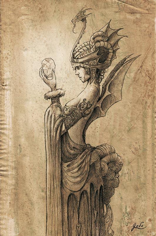 illustration d'une fee dragon realisee par godo, technique crayon