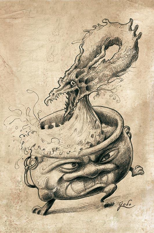 illustration d'un dragon sortant d'un chaudron vivant et dansant. Réalisé par godo. Technique : crayon