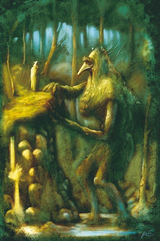 illustration d'un géant moussu et d'un mage dans la forêt. Réalisé par godo