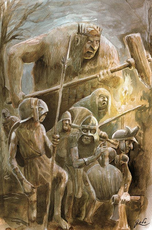 illustration à l'aquarelle d'une horde de gobelins armés. Réalisé par godo