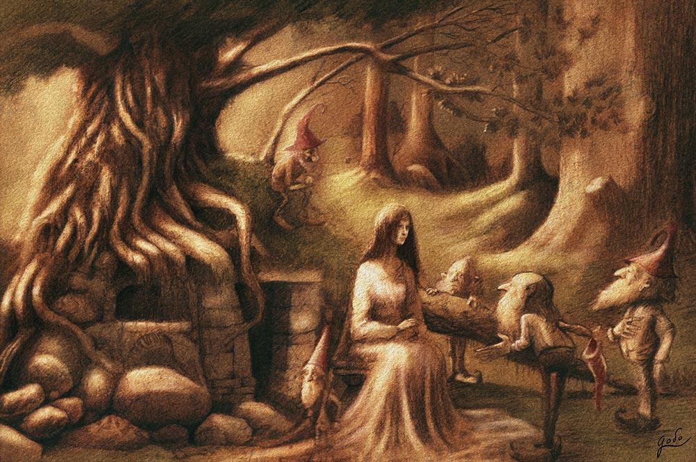 illustration d'un fée dans la forêt entourrée de gnomes devant leur habitat. Réalisé par godo