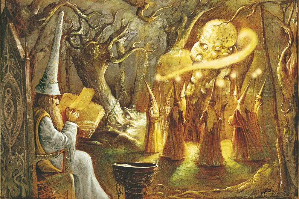 illustration de mages et frères conteurs autour de la pierre de mémoire perdue dans la forêt d'orthana. illustration godo. Fantasy et féerie