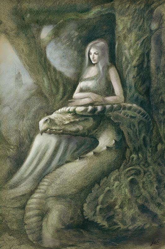 illustration d'une fée et de son dragon. Illustration réalisée par Godo. Site : godo art. illustrateur fantasy