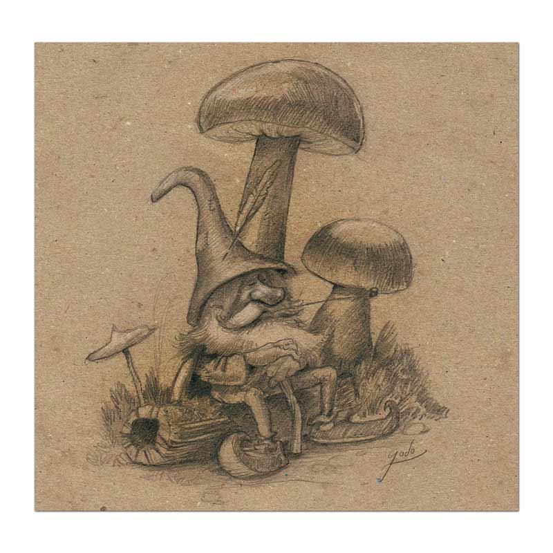 croquis d'un vieux farfadet en pleine méditation, réalisé au crayon sur papier texturé. Illustration godo fantasy