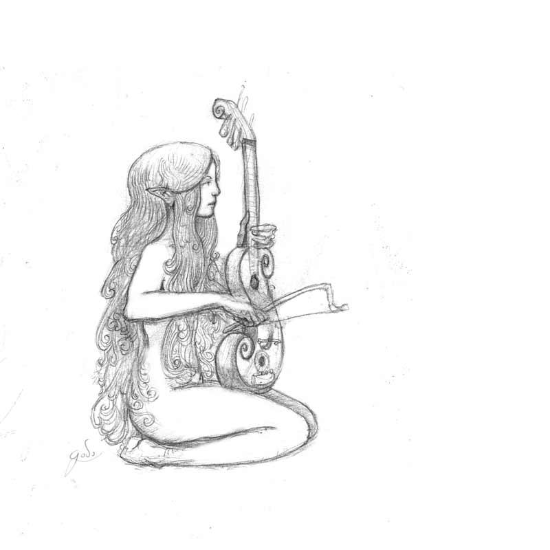 dessin d'une petite fée menestel au crayon, illustration godo