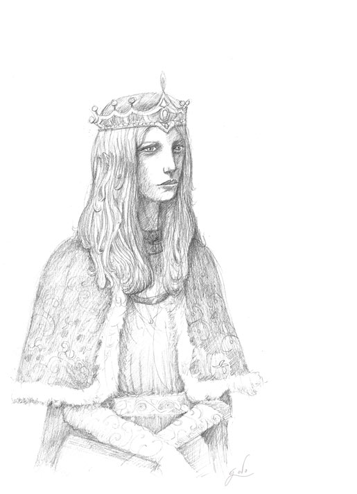 dessin d'une reine ou princess au crayon, illustration godo fantasy  illustration
