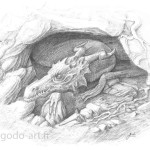 illustration au crayon, d'un dragon sortant de sa caverne, dessin godo