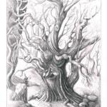 illustration au crayon d'un arbre trogne discuttant avec un lutin perché sur sa pierre. Illustration Godo