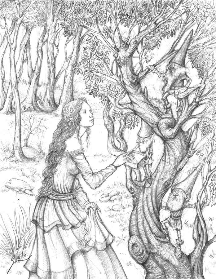 belle fée en discussion avec des gnomes et lutins. Illustration de Godo