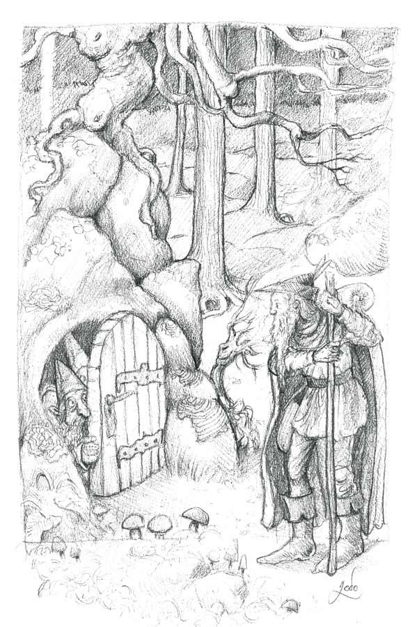 Maison de gnomes dans la foret, devant laquelle se tient un frère conteur dans la forêt. Illustration au crayon de Godo