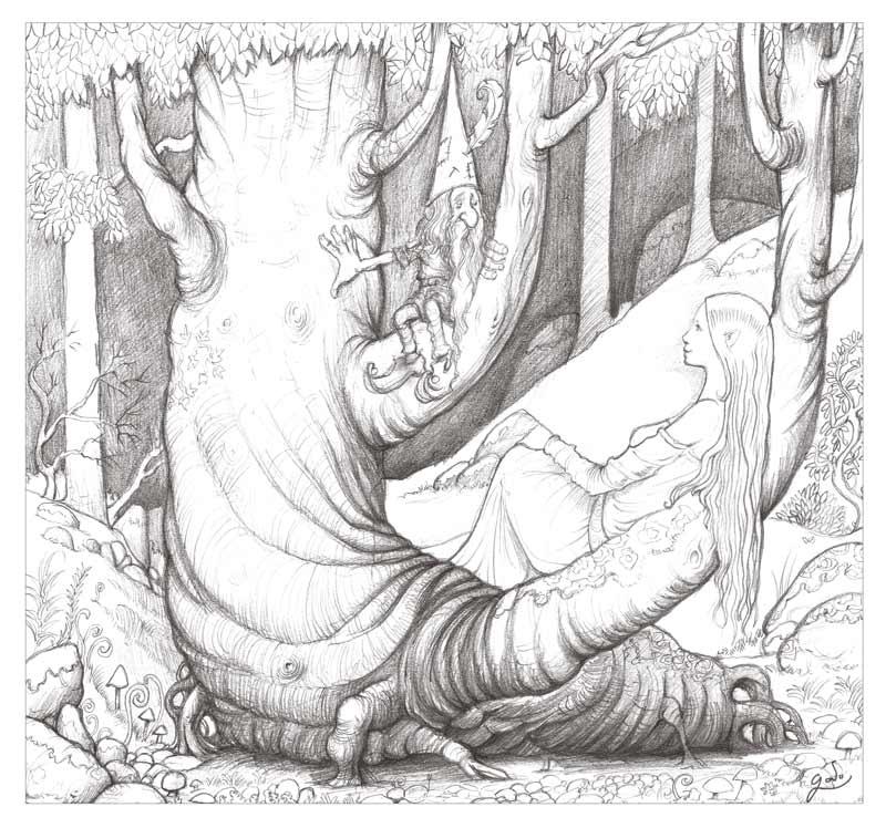 croquis de fée de lutin dans la forêt. Illustration au crayon de Godo