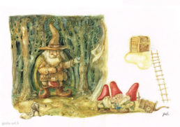 illustration gnomes et trésor godo art