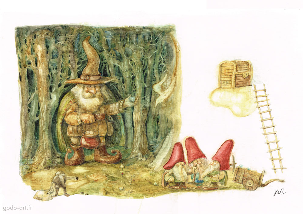 illustration gnomes et trésor godo art