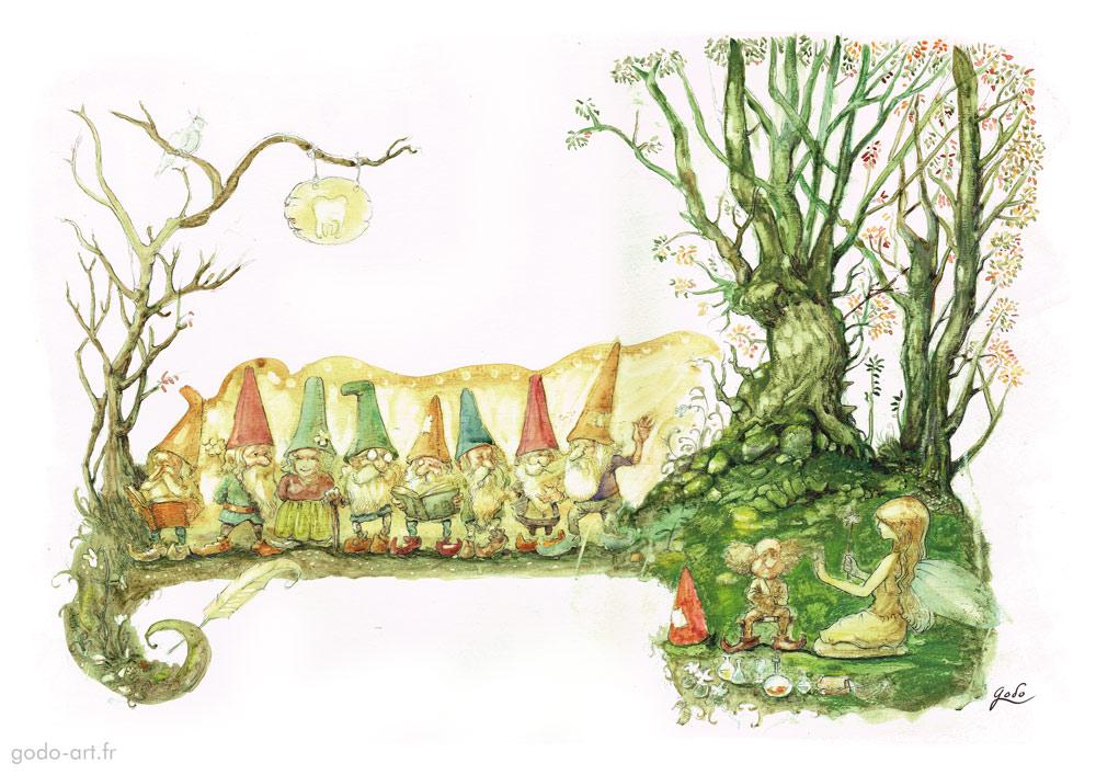 clairière d'attente de la fée des dents et ses gnomes