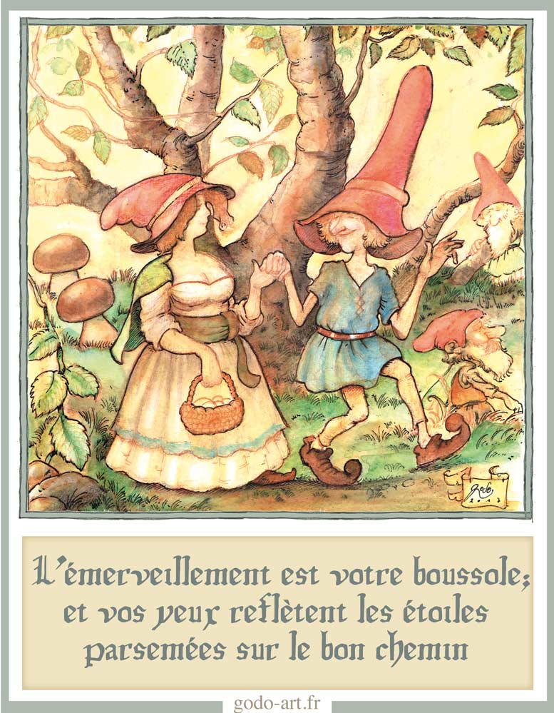 illustrations lutin lutine, l'émerveillement. Illustration godo art