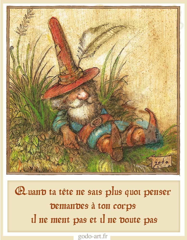 """illustration de """"petit-peuple et grande sagesse, première clé, l'émerveillement. Illustration godo"""