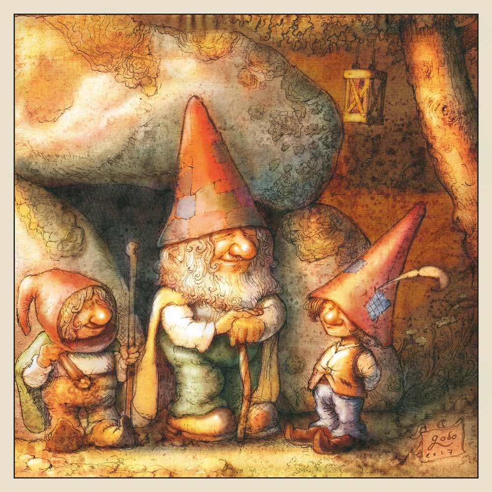 illustration de trois petits gnomes