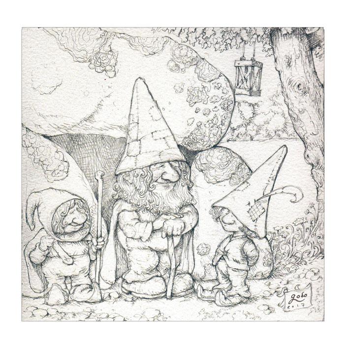 trois gnomes  illustration, crayonné.  godo-art