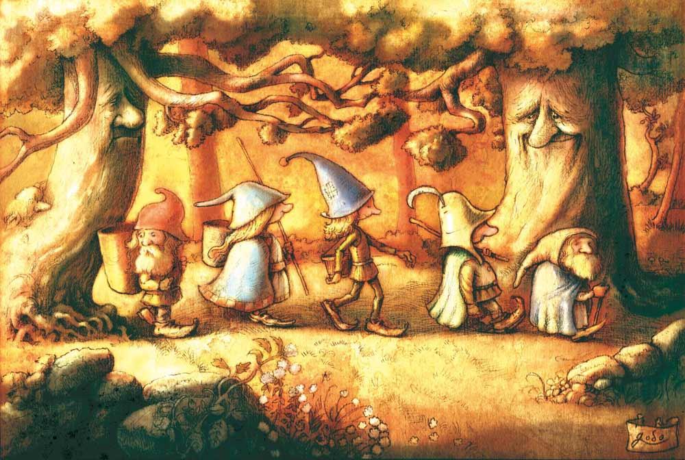 illustration d'une ribambelle de gnomes