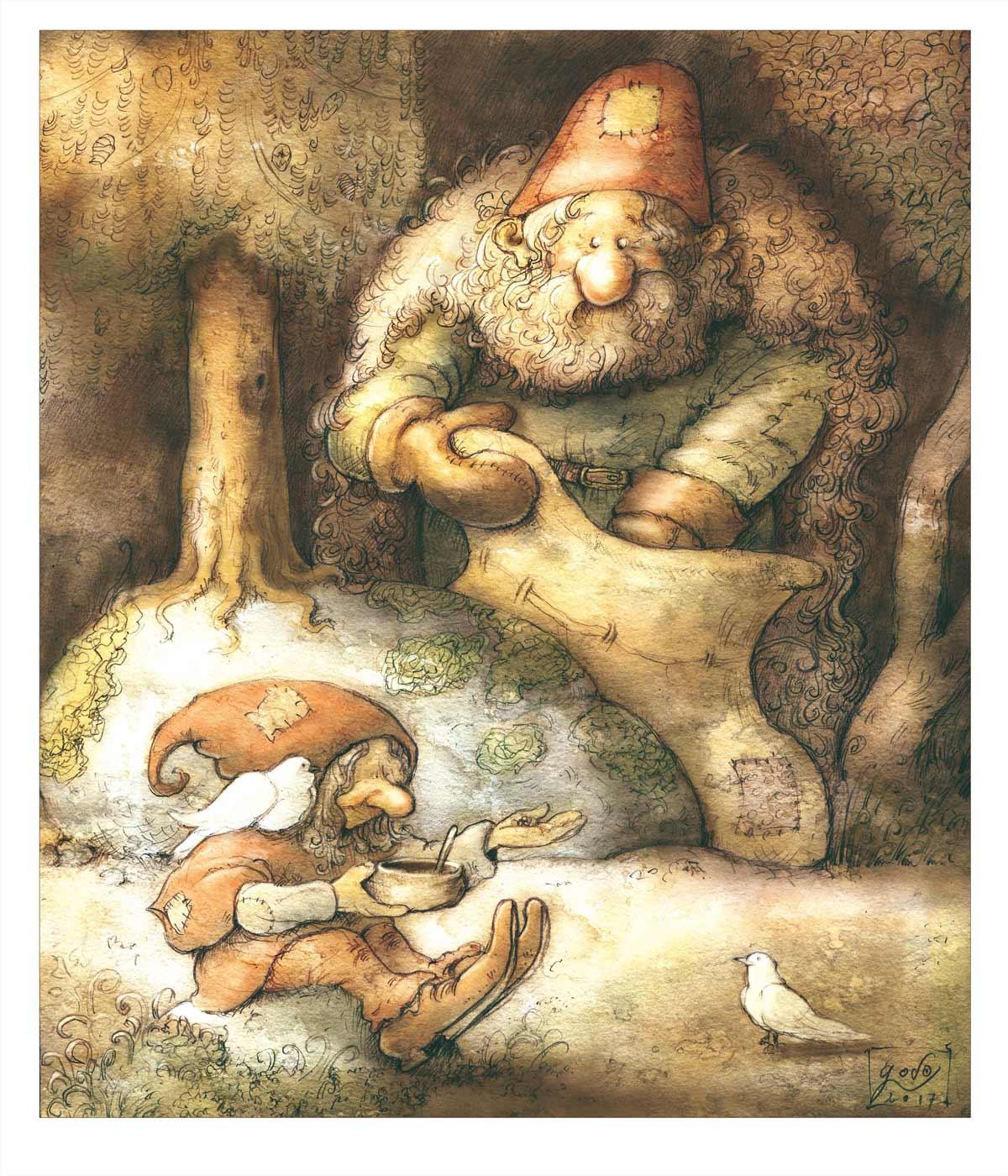 illustration gnome,  géant  et oiseaux