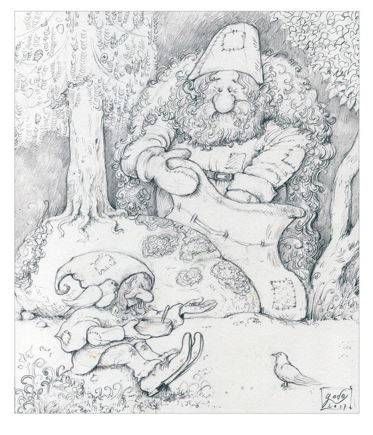 dessin - gnome -oiseau -godo