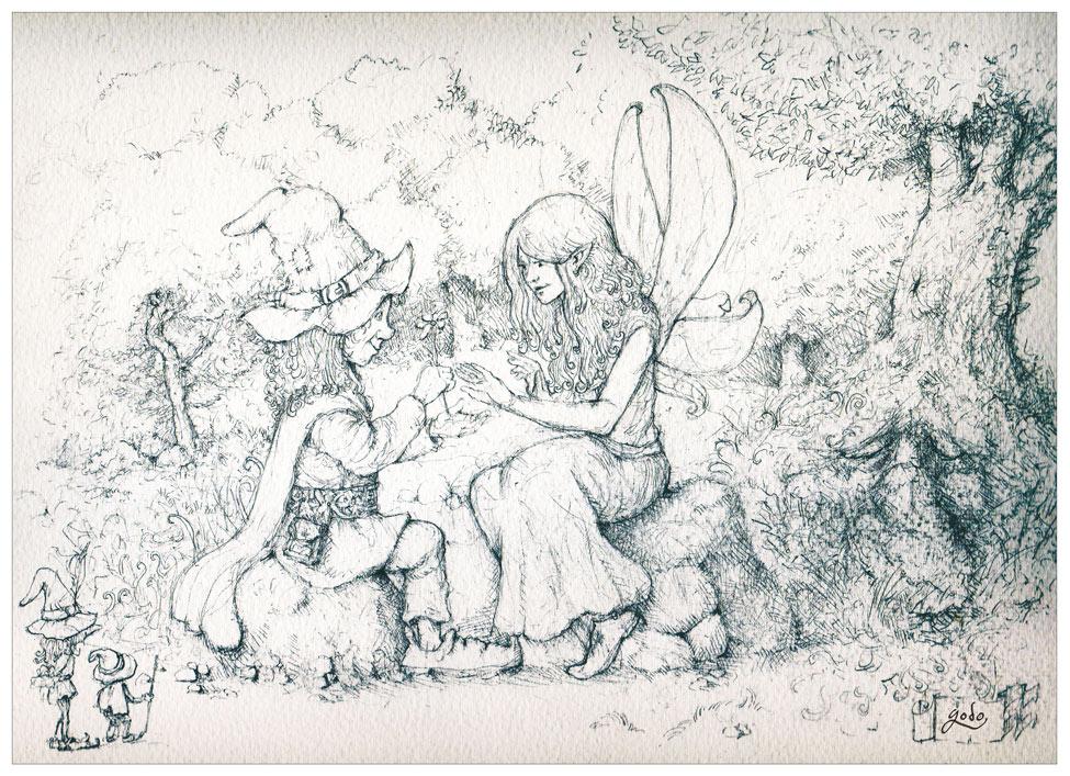dessin de fée et de luttin