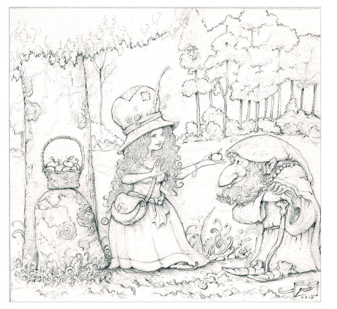 dessin de la fée aux pomme et d'un vieux gnome