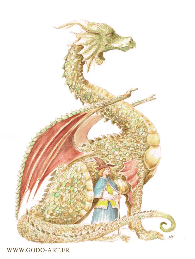 illustration de dragon  réalisée à l'encre aquarelle et au crayon. Illustration de Fantasy par Godo