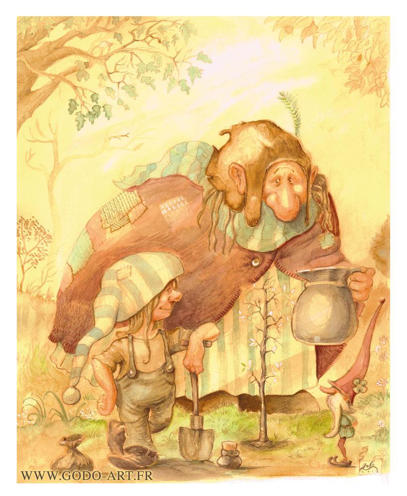 Illustration d'un gnome, d'un lutin et d'un troll plantant un arbre rêve. Réalisation aux encres aquarelle et crayon