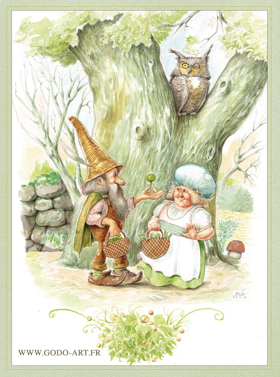 Illustration d'un couple de lutins et d'un hibou. Réalisation au encres et crayon sépia et sanguine Godo