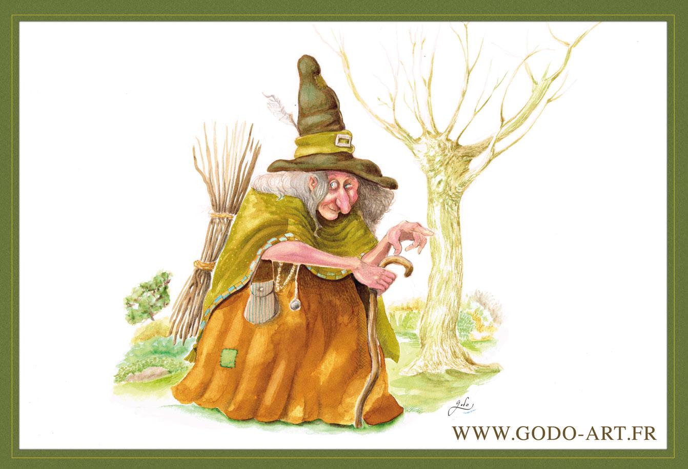 illustration d'une vieille sorcière de conte de fée. Réalisation aux encres aquarelle et crayon