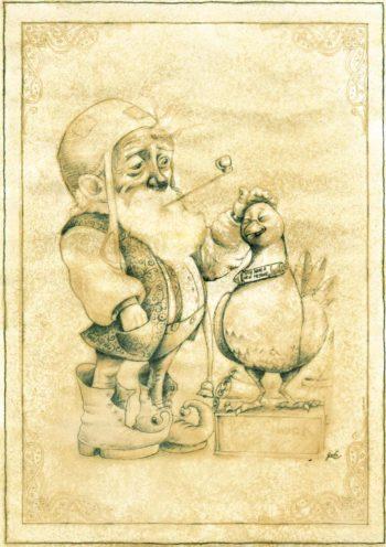 Parchemin de féerie, illustration d'un lutin caressant un pigeon messager